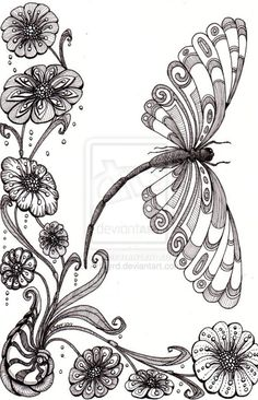 Free Zentangle How To Patterns | Dragonfly Away 25Aug12 by *Artwyrd on deviantART