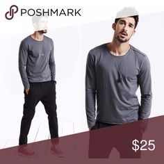 """▪️NEW - Raw Edged Cotton Tee in Gray These shirts are of exceedingly great quality! Beautiful soft 100% cotton. On-trend raw edged finishes. Back seam detail. Perfectly straight stitching. Long sleeves. (3rd & 4th screen illustrate details and not color of the garment for sale). These run a size small. See measurements for fit. App. Meas.:  Sleeves; 23.5"""" From shoulder seam to opening; Chest: 20"""" from armpit to armpit;  Length: 26"""" measuring center back from top to hem; Content: 100% Soft…"""