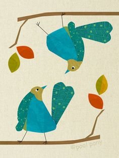 blue love birds, mid century design, art print, LARGE