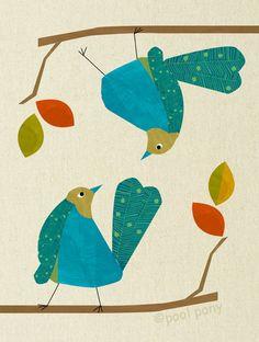 blue love birds, mid century design, art print, LARGE