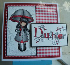 Gorjuss - Puddles of Love coloured with Umbrella Cards, Beautiful Handmade Cards, Card Making Inspiration, Pretty Cards, Card Sketches, Copics, Name Cards, Creative Cards, Kids Cards