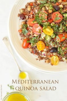 This Mediterranean Quinoa Salad is loaded with color, flavor and nutritional goodness!! It's a new favorite!