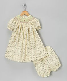 Take a look at this Ecru & Raspberry Floral Bishop Dress & Bloomers - Infant by Petit Pomme on #zulily today!