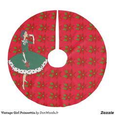 Vintage Girl Poinsettia Brushed Polyester Tree Skirt