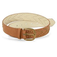 Faded Glory Women's V-Shaped Studded Perforated Belt, Size: Small, Brown