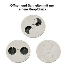 Steckdose TWIST mit Metalldeckel zum Einbau in Arbeitsplatten / Tischsteckdose / Steckdose / Doppel-Steckdose - Steckdosen - Küchenausstattung | KitchenKing24