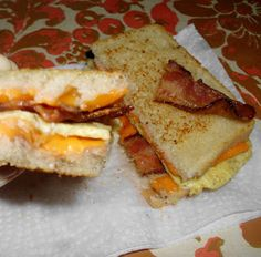 gluten-free, dairy-free breakfast grilled cheese! Eggs, bacon deliciousness
