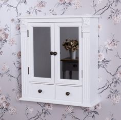 Antique White Mirrored Cupboard With Drawers
