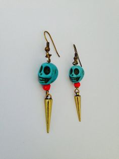 Turquoise skull dangling earrings  by HFCO on Etsy, £5.00