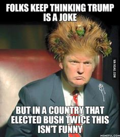 I think a lot of people are not taking Trump seriously bc he is such a constant dumpster fire. We still have a lot of time until November and anything could happen, we can not just treat him like a joke, he is a threat to democracy as we know it. Caricatures, Funny Jokes, Hilarious, Republican Party, That Way, Einstein, Donald Trump, At Least, Shit Happens