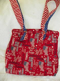 my 9-11 remembrance bag. fabric from JoAnn.  improvised pattern