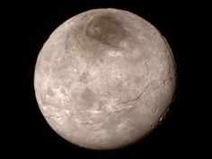Canyons on Charon. A new image of Charon, Pluto's largest moon. The moon has a dark patch, informally called Mordor, at its north pole. Charon seen by the New Horizons spacecraft on July 14
