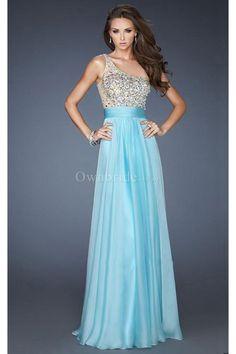 One Shoulder Natural Waist Floor-Length Prom Dress