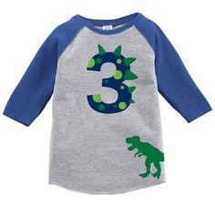 Dinosaur Birthday Custom Raglan Toddler Shirt with Name on Back