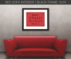 11x14 Red Sofa Wall Interior Black Wood Frame, Wall Art Display Mockup, PNG PSD, Portrait Landscape, Minimal style, Styled Stock Photography
