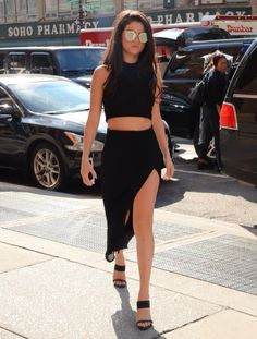 Selena Gomez street style in an all black outfit.