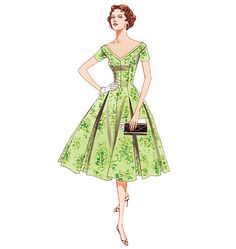 """Vogue 2903 - vintage reproduction of 1957 dress. Reminds me of #Pleasantville. Requires 6 3/4 yd fabric for view A, plus 14"""" zipper."""