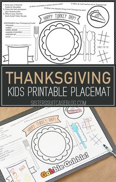 Kids Thanksgiving Placemat + 12 FREE Thanksgiving Printables - My Sister's Suitcase - Packed with Creativity