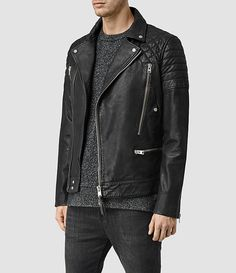Burton Asymmetric Leather Biker Jacket - Coats & Jackets - Men ...