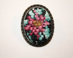 Faux Needlepoint by BitsofClay. Made from polymer clay