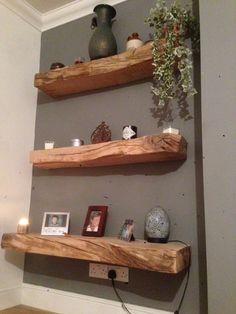 My new oak shelfs Inspired Homes, Wall Mounted Bar, Rustic Decor, Wood Shelves, Pallet Home Decor, Corner Shelves, Oak Shelves, Home Interior Design, My Doll House