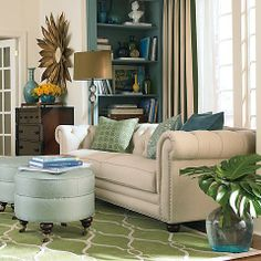 Blue & green living room