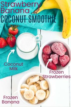 Strawberry Banana Coconut Smoothie - you will love this super creamy vegan smoothie recipe as a healthy breakfast, snack, or dessert. Just grab frozen strawberries, frozen bananas, coconut milk, and your blender! Vegan Smoothie Recipes, High Protein Vegan Recipes, Vegan Dessert Recipes, Delicious Vegan Recipes, Fruit Recipes, Snack Recipes, Snacks, Amazing Recipes, Coconut Milk Smoothie