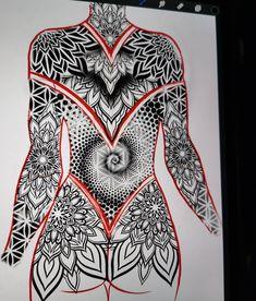 No photo description available. Mandala Tattoo Mann, Geometric Mandala Tattoo, Tattoos Mandala, Geometric Tattoo Design, Mandala Tattoo Design, Henna Tattoo Designs, Body Art Tattoos, Tribal Tattoos, Girl Tattoos