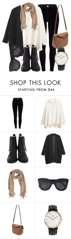 """""""Untitled #4943"""" by laurenmboot ❤ liked on Polyvore featuring River Island, H&M, Acne Studios, Monki, CÉLINE, Mulberry and Daniel Wellington"""