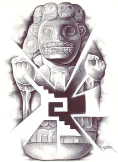 Cihuateteo by Spyder Aztec Tribal Black & White Canvas Fine Art Print