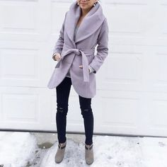 🎉🎉HP🎉🎉 collar wrap mauve gray coat In stock now. Only 1 available. Gray coat with a hint of purple. Lovely and high collar None Jackets & Coats