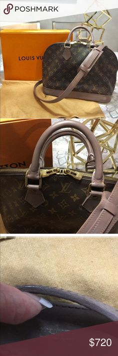 """Louis Vuitton Alma w/dustbag and shoulder-strap Authentic Louis Vuitton Alma. Comes with authentic Louis Vuitton shoulder strap, dustbag, Clasp for strap to attach is not Louis Vuitton. Like new condition. Custom dyed light brown and sealed for protection. Width 12"""" hight 9.5"""" depth 6.2"""" Louis Vuitton Bags"""