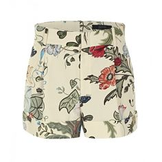 Gucci Pale Yellow Flora Knight Print Cotton Shorts ($640) ❤ liked on Polyvore featuring shorts, bottoms, short, pantaloni, patterned shorts, gucci, yellow short shorts, cuffed shorts and cotton shorts