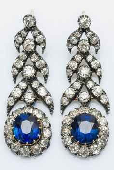 A pair of antique gold, silver, diamond and sapphire earrings, 19th century. Length 4cm. #antique #earrings