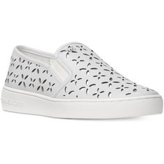 Michael Michael Kors Keaton Floral Perforated Slip-On Sneakers ($120) ❤ liked on Polyvore featuring shoes, sneakers, michael kors shoes, polish shoes, floral print sneakers, pull on sneakers and slip-on shoes