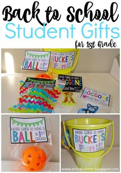Back to School Student Gifts {FREEBIES} |We're Going to Have a Ball in 1st Grade, We're Going to Have a Ball in 2nd Grade, We're Going to Have a Ball in 3rd Grade, We're Going to Have a Ball This Year, We're Going to Have Buckets of Fun in First Grade, We're going to have a Doggone Good Time in First Grade.