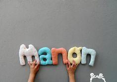 manon,mot en tissu,mot decoratif,cadeau de naissance,decoration chambre d'enfant,cadeau personnalise,cadeau original,poc a poc blog