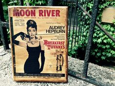 Moon River Audrey Hepburn Movie Poster Wooden Picture Home Decor Vintage Wall Art