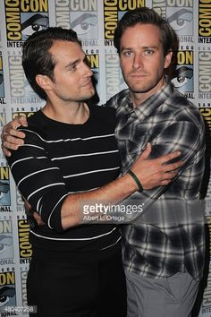 Actors Henry Cavill (L) and Armie Hammer attend the Warner Bros. 'The Man from U.N.C.L.E.' presentation during Comic-Con International 2015 at the San Diego Convention Center on July 11, 2015 in San Diego, California.