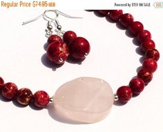 ON SALE Beaded Necklace Earrings Set Red by OlgaJewelryBoutique