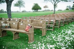 Nice seating for outdoor ceremony;) Photography by nyholt.com, Event Coordination by angelalnix.com, Flowers by bergnerandjohnson...