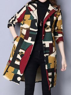 Women Vintage Long Sleeve Hooded Printed Pocket Cotton Trench Coat