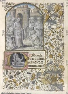 ******** Raising of Lazarus, [Whole folio] Office for the Dead at Vespers. Christ stands, with Mary and Martha kneeling beside him, as Lazarus emerges from the tomb. Psalm 114 beginning with initial 'D', skeletal figure rising from a tomb. Borders of foliate decoration Image taken from Book of Hours. Originally published/produced in France; 15th century.