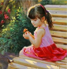 Dipinto bambina sulla panchina vladimir volegov
