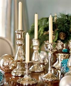 Antique Mercury Glass | Antique Silvered Mercury Glass Candle Holders and new ornaments ...