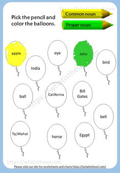 Worksheets on Common Nouns and Proper Nouns - Your Home Teacher English Worksheets For Kids, English Lessons For Kids, Kids Worksheets, English Activities, Reading Worksheets, Nouns For Kids, Proper Nouns Worksheet, Grade 1 English, Preschool Charts