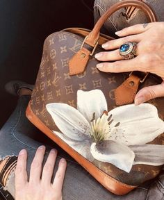 Louis Vuitton Alma, Louis Vuitton Handbags, Louis Vuitton Speedy Bag, Louis Vuitton Monogram, Vintage Costume Jewelry, Vintage Costumes, Painted Bags, Hand Painted, Designer Purses