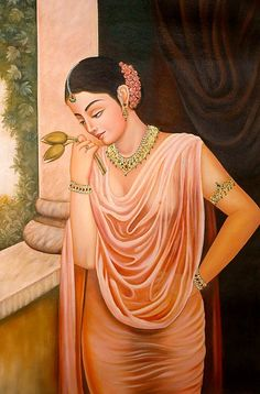 Lonely Lady on Terrace (Virahini Nayika) with Two Lotus Buds Symbolizing the Couple, Oils Oil on Canvas Kerala Mural Painting, India Painting, Mughal Paintings, Indian Art Paintings, Portrait Paintings, Oil Paintings, Sexy Painting, Woman Painting, Lotus Painting