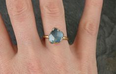 partial cut Aquamarine Solitaire Ring Wedding Ring by byAngeline