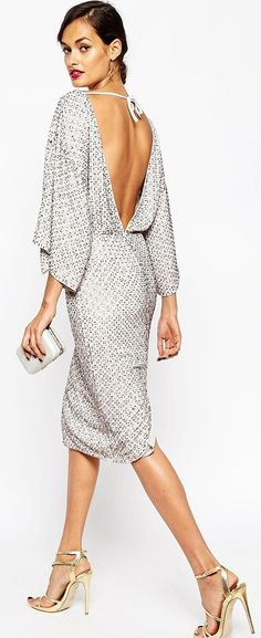 Elsa Ekman Sequin Grid Kimono Midi Dress Christmas Style Inspo #Fashionistas